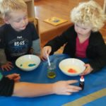 Children with colour dyes